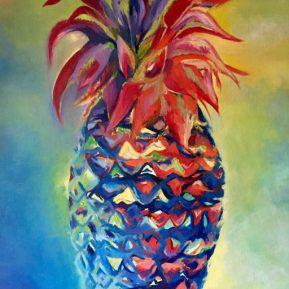 ananas multicolore (huile sur toile)