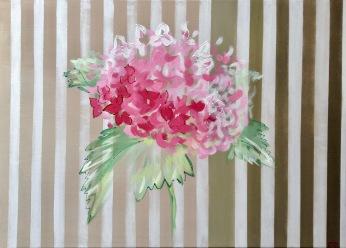 Hortensia rose sur fond rayé