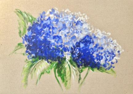 hortensias bleus (acrylique sur toile de lin)