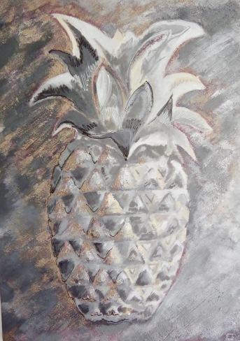 ananas gris argent (acrylique sur toile)