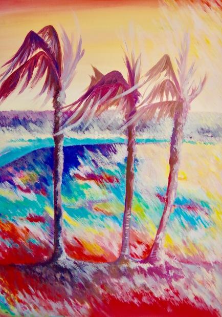 palmiers dans le vent (acrylique et pastel à l'huile)